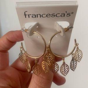 Francesca's gold leaf hoop earrings
